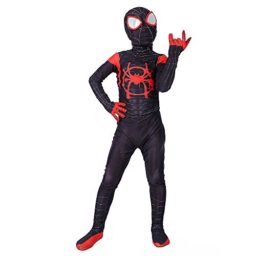 Miles Morales Into the Spider-Verse 3D Printed Spandex Lycra Spider-Man Costume For Kids ()