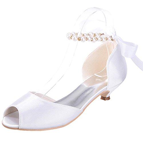 Brautkleid Schuhe Satin Größe Toe Peep Kleid Ribbon Low Elobaby Flache Pearl Damen Party Hochzeitsschuhe ZCqFwBA