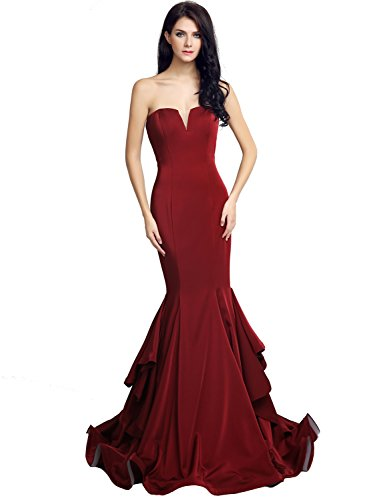 Dresses Lx232 Ball House burgundy Belle Lace Strapless Formal Long Tulle Women's Gown Evening xvxHXPZw