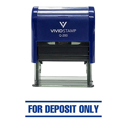 FOR DEPOSIT ONLY w/ Bars Self-Inking Office Rubber Stamp (Blue) - Medium - Deposit Only Rubber Stamps