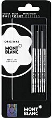 Montblanc Black Broad Ballpoint Refills 3 Per Pack