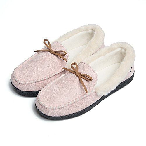 FOOTTECH Women Moccasins Slippers Faux Fur Lined Suede and Memory Foam, Breathable Indoor Outdoor Comfy Shoes Pink