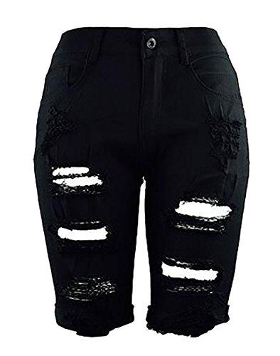 JWK Women's Bermuda Shorts Mid Rise Stretchy Knee Length Jeans Destroyed Denim Shorts Black Small