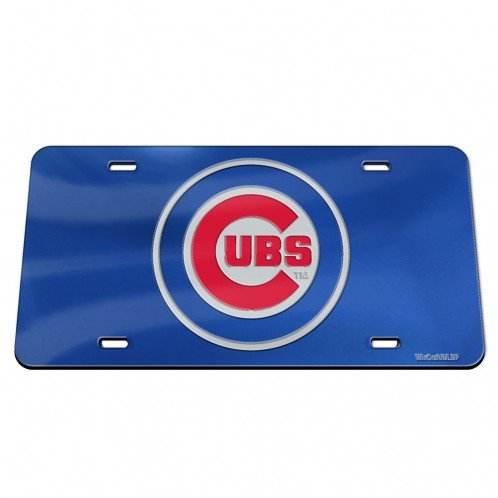 Chicago Cubs Logo Crystal - WinCraft MLB Chicago Cubs Crystal Mirror Logo License Plate, Team Color, One Size