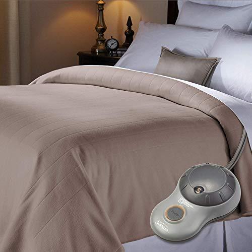 Sunbeam Quilted Fleece Electric Heated Blanket Full Size - Mushroom -  BSV9GFSR77212A4