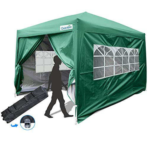 Quictent Silvox 10x10 EZ Pop Up Canopy Party Tent Instant Gazebo Waterproof with 4 Sides & Roller Bag -8 Colors (Green)