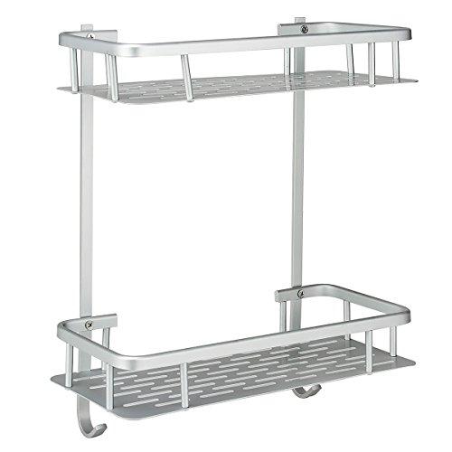 Deekec Shelf ( No Drilling ) Durable Aluminum 2 tiers shower storage Caddy Towel Bar Basket Kitchen Corner Sticky No Drills Shelves (Bathroom Shelf 2 tiers-rectangle) Aluminum Solid Wall Mounted Shelf