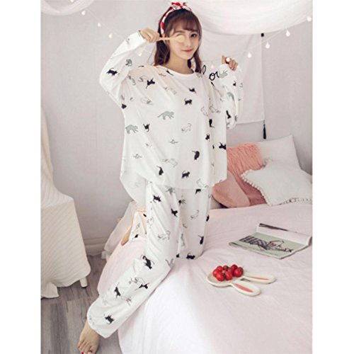 MOXIN Ladies Pyjama Cotton Gift Set Long Top & Bottoms Cosy Autumn Womens Nightwear , xxl , - white cat by moxin