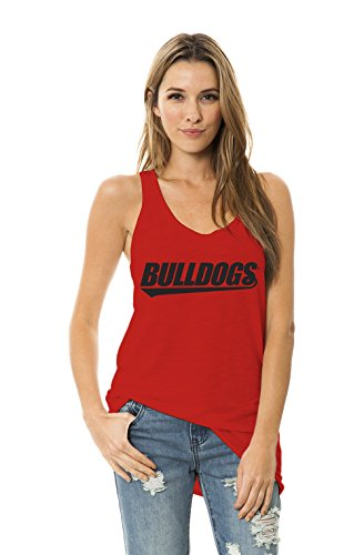Venley NCAA Georgia Bulldogs Women's Donna Racerback Slub Tank Top, Red, Small