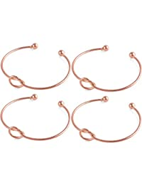 Casoty Love Knot Bangle Bracelet Simple Cuffs Bracelet for Women Girls Stretch Bracelets - Set of 4
