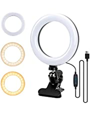 """Ring Light, SOFER 6.3"""" Selfie Ring Light with Clamp Mount for Laptop, Desk, Bed, Office, Makeup, YouTube, Video, Live Steam & Broadcast, Led Ring Light with 3 Dimmable Color & 11 Brightness Level, 360 Degrees Rotatable"""