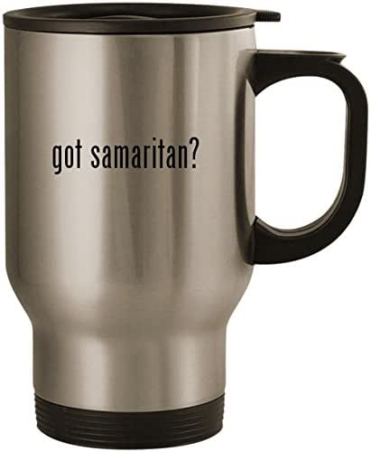 got samaritan? - Stainless Steel 14oz Road Ready Travel Mug, Silver