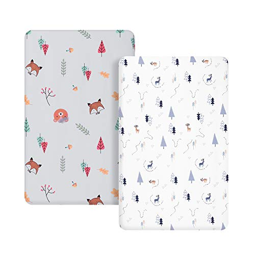 TILLYOU Microfiber Woodland Pack N Play Sheets, Mini Portable Crib Sheets Set Fitted for Boys Girls, Silky Soft Breathable Printed Playard Playpen Sheets, Gray & White Woodland