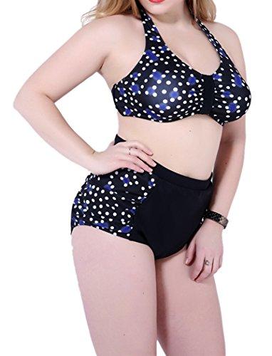 Booty Gal Two Piece High Waist Polka Dot Plus Size Halter Bikini Swimsuit(SIZE XXXXXL/BLACK)