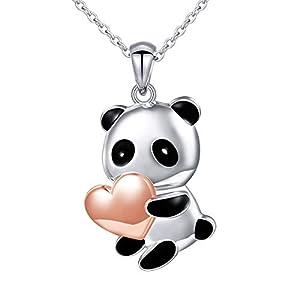 """Sterling Silver Forever Love Cute Animal Panda Bear Koala Bear Pendant Necklace Ring for Women Teen Girls, 18"""""""