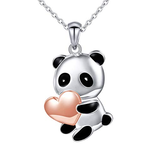Sterling Silver Forever Love Panda with Rose Gold Heart Necklace for Women Girls, 18