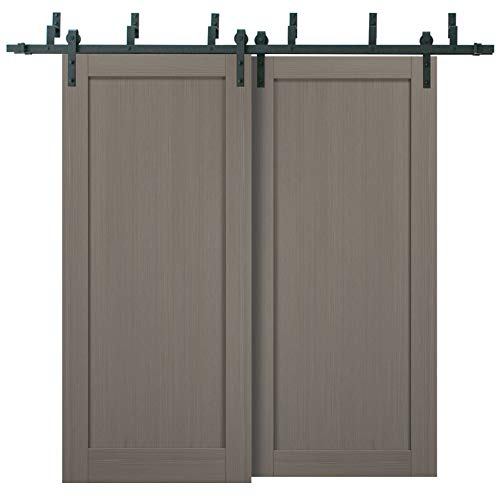 Barn Bypass Doors 72 x 96 with 6.6ft Hardware | Quadro 4111 Grey Ash | Sturdy Heavy Duty Rails Kit Steel Set | Double…