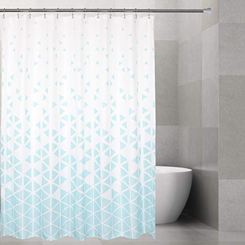 Barossa Design Fabric Geometric Shower Curtain with Abstract Blue Triangle Pattern Printed, Water Repellent, Machine Washable, 72x72 Standard Size