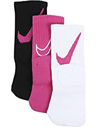 Girls 3-Pair Graphic Swoosh Logo Vivid Pink Assorted Sport Crew Socks