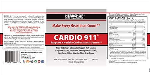 Cardio 911, Nitric Oxide, 16.82 oz Powder, CoQ-10 100mg, L Arginine 5000mg, L Citrulline 1000mg, (Twin Pack)