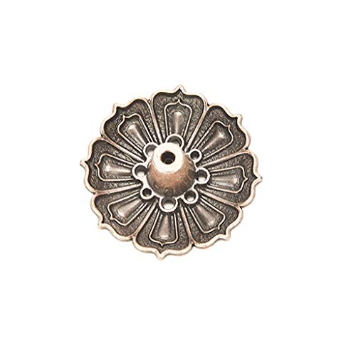1PCS Vintage Bronze Classical Flowers Pattern Incense Burner Stick Holder Incense Base Plug Home Buddhist Birthday
