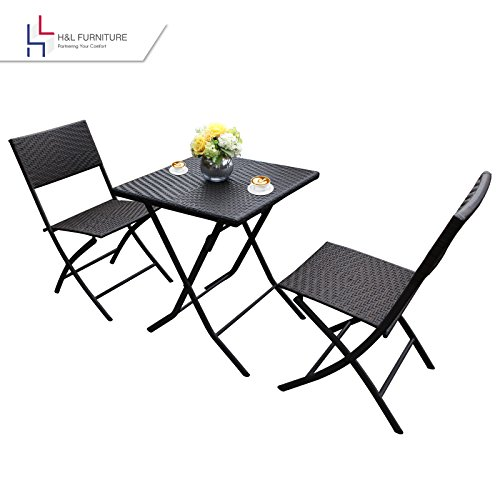 HL-Patio-Resin-Rattan-Steel-Folding-Bistro-Set-Parma-Style-All-Weather-Resistant-Resin-Wicker-Powder-Coated-Heavy-Duty-Steel-Frames-3-PCS-Set-of-Foldable-Table-and-Chairs-Color-Brown-1-Year-Warranty