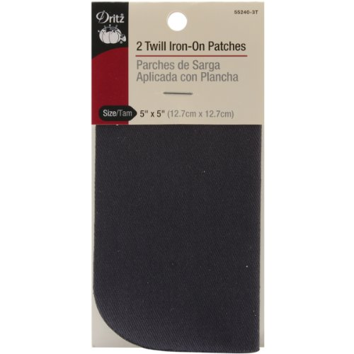 5 Patch Inch (Dritz 55240-3T Twill Iron-On Patches, Navy, 5 by 5-Inch, 2-Pack)