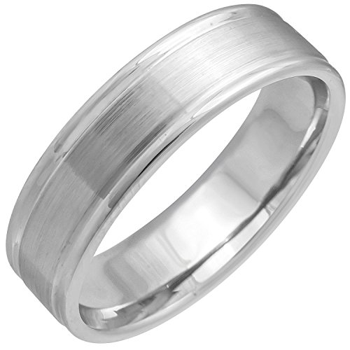 Platinum Carved Lines Men's Comfort Fit Wedding Band (6mm) Size-8.5c1 by Wedding Rings Depot