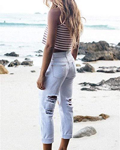 Mujeres Color La Al Vaqueros Libre Blanco Stretch Pantalones Bolsillos Aire Lápiz De Sólido Moda Mezclilla Las Con Flacos Los Botón Rasgados qtnSAT8
