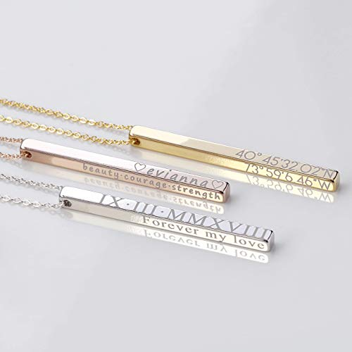 SAME DAY SHIPPING Personalized Vertical Bar Necklace Coordinate Jewelry Mothers Day Gift Roman Numeral Graduation Gift Engraved 3D Necklaces for Women Initial Necklace - ()