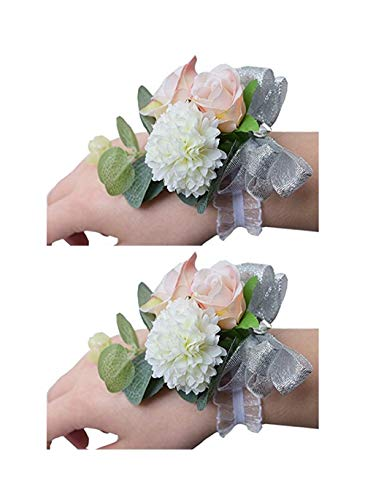 Flonding Girl Bridesmaid Wedding Wrist Corsage Bride Wrist Flower Corsages Stretch Bracelet Wristband for Wedding Prom Party Homecoming Hand Flowers Decor Pack of 2