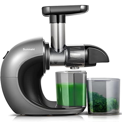 Slow Juicer,Sunamki Cold Press Juicer Machines with Quiet Motor & Reverse Function, Masticating Juicer Easy to Clean,High Juice Yield and Drier Pulp for Vegetables and Fruits
