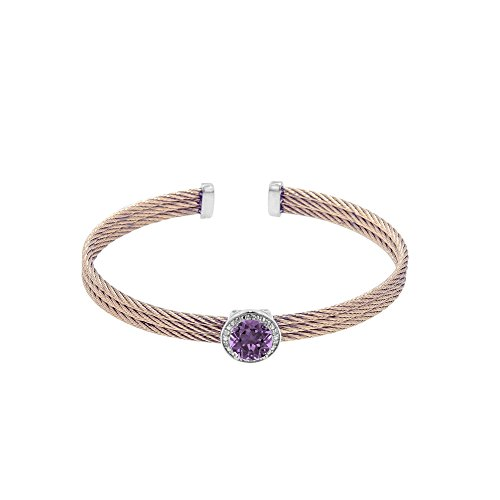 Silver with Rose Finish+Stainless Steel Cuff Cable Bangle with Amethyst+0.03Ct. Diamond (Amethyst Cable Bangle)