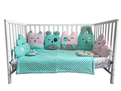 Sweet Dreams Baby-Crib Bedding Set for Infants & Toddlers, 13-Piece Set (Turquoise/Pink)