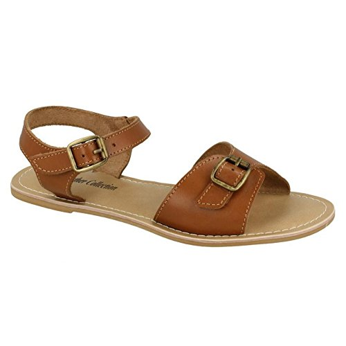 Leather Strap Buckle Ladies Leather Collection Sandals White Womens A4xZAqwr
