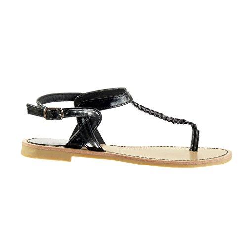 Angkorly - Chaussure Mode Sandale Tong salomés femme lanière tréssé brodé Talon bloc 1.5 CM - Noir