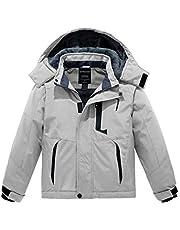 Wantdo Boy's Waterproof Ski Fleece Jacket Winter Warm Snow Coat Thicken Hooded Raincoats