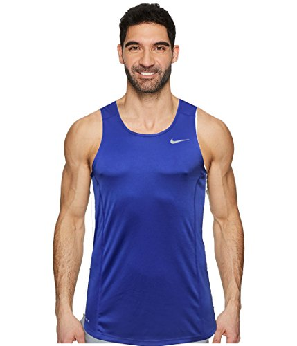 NIKE Dry Dri Fit Miller Tank Top Men's Sleeveless Running Shirt (Medium, Paramount Blue/Reflective Silver)