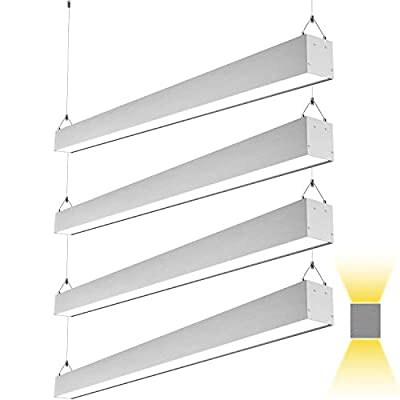 Hykolity 4FT 50W Architectural Suspended Direct/Indirect LED Linear Channel Light, Contemporary Lighting Fixture for Offices, Studios and Commercial Places, 5500lm 3000K/4000K/5000K ETL Listed-4 Pack