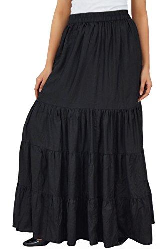 Tier Skirt (Bimba Boho Long Flaired Maxi Tier Skirt Elastic Waist Rayon Bohemian Skirts)