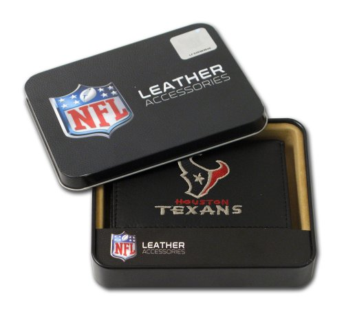 NFL Houston Texans Embroidered Genuine Cowhide Leather Trifold Wallet (Leather Texans Houston)