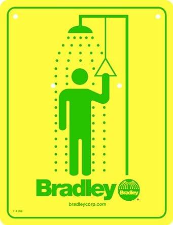 Bradley 114-050 Drench Safety Shower Sign, Yellow