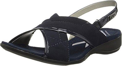 AK Anne Klein Sport Women's Kachine Fabric Wedge Sandal,Navy,8 M US