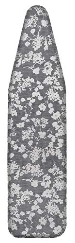 "MZXcuin 15"" x 54"" Padded Ironing Board Cover Scorch Resistant, Extra Thick Cotton Iron Cover with Padding Heat Reflective Heavy Duty Pad ,Grey Floral"