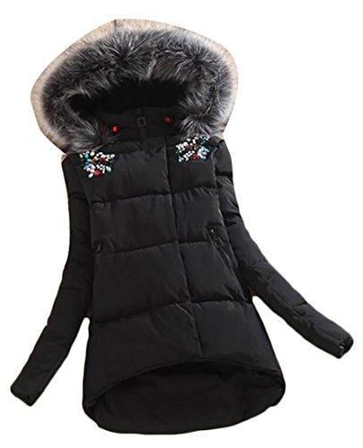 Parka Slim amp;W Womens M Outwear Hooded Coats Jacket amp;S Black Fur Collar irregular z8S48Fqp