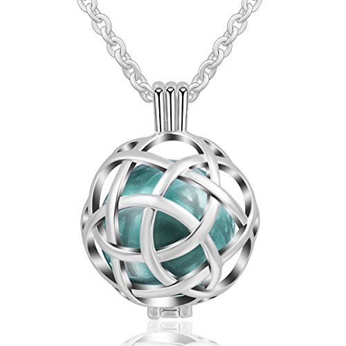 AEONSLOVE Silver Good Luck Celtic Knot Pattern Open Round Harmony Ball Pendant Necklace, 30'' Chain