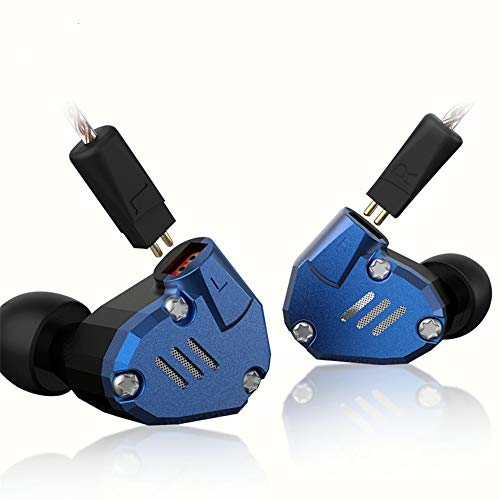 KZ in Ear Monitor Yinyoo ZS7 4BA 1DD Drivers Metal Headphones KZ Noise Cancelling Earbuds Ear Buds Wired Inears Earphones in-Ear Earphones with Replacement 0.75mm 2pins Cable(Blue no mic)