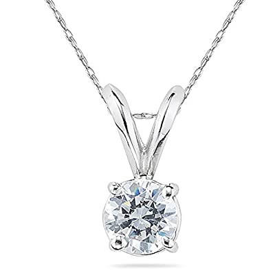 AGS Certified 1/3 Carat Round Diamond Solitaire Pendant in 14K White Gold, 18 inch