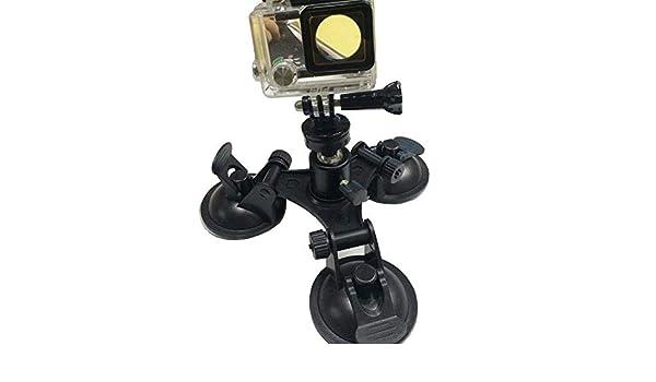Cabezal de bola para GoPro Coche Triple bajo ángulo montaje de Ventosa Soporte Soporte