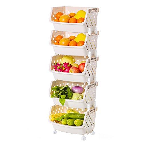 IMPR3·TREE Multipurpose Mall Stackable 5 Shelf Shelving Unit Fruit Baskets Organizer Luxury Collection Toys Storage Plastic BPA-FREE/w Wheels, Beige